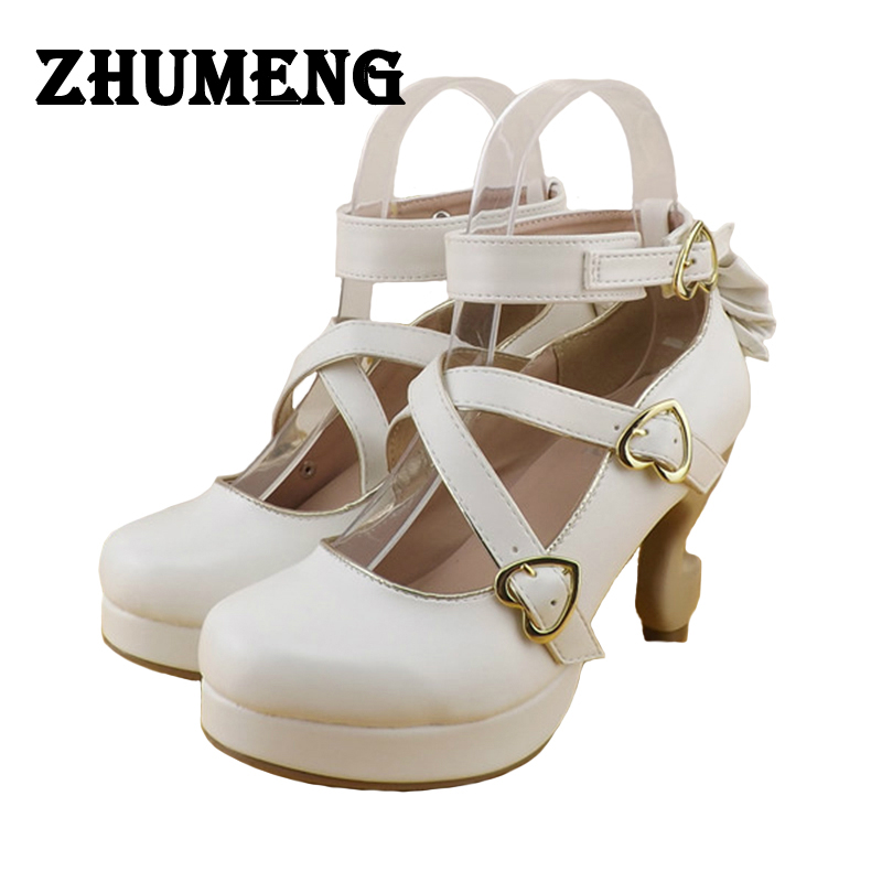 2017 Spring Brand Womens Soft Shoes Lolita Bow High Heels 8cm Sweet Zapatos Lolita Ladies Ankle Strap White Japan Real Leather