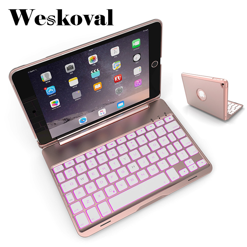 For iPad Mini 4 Wireless Bluetooth Keyboard Case For iPad Mini 4 7.9 inch Tablet Aluminum Alloy Stand Cover Flip Capa +Stylus slim case for ipad mini 4 aluminum wireless bluetooth keyboard 7 colors backlit protective smart cover for ipad mini4 flip stand