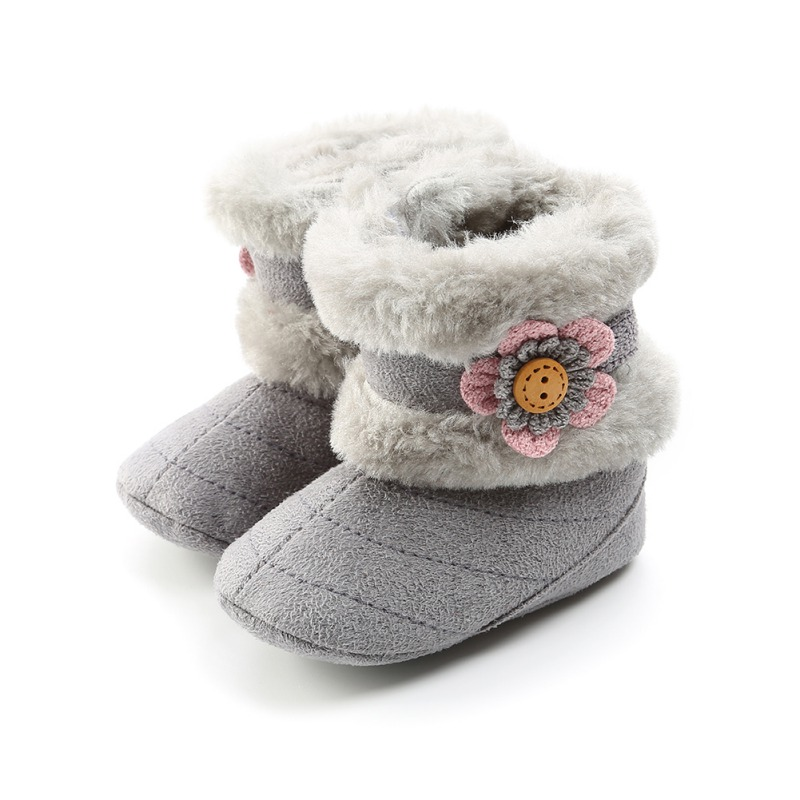 Fashion Winter Baby Boots Soft Plush Ball Booties For Infant Girls Anti Slip Snow Boot Warm Cute Crib Shoes