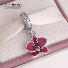 Cupieron la pulsera europea esmalte rojo encanto orquídea de cuentas auténtica 925-Sterling-Silver flor cuelga el con CZ pavimenta para para DG152