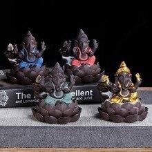 Ganesha Incense Smoke Waterfall Backflow Burner Ceramic Elephant God Success Buddhist Decor Holder Censer Crafts
