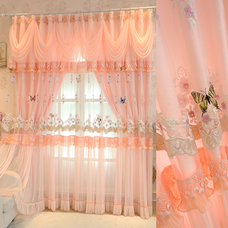 Customize Princess Lace Embroidered Blackout Curtains Pink Butterfly Double Layer Tulle Curtains Wedding Curtian for Living