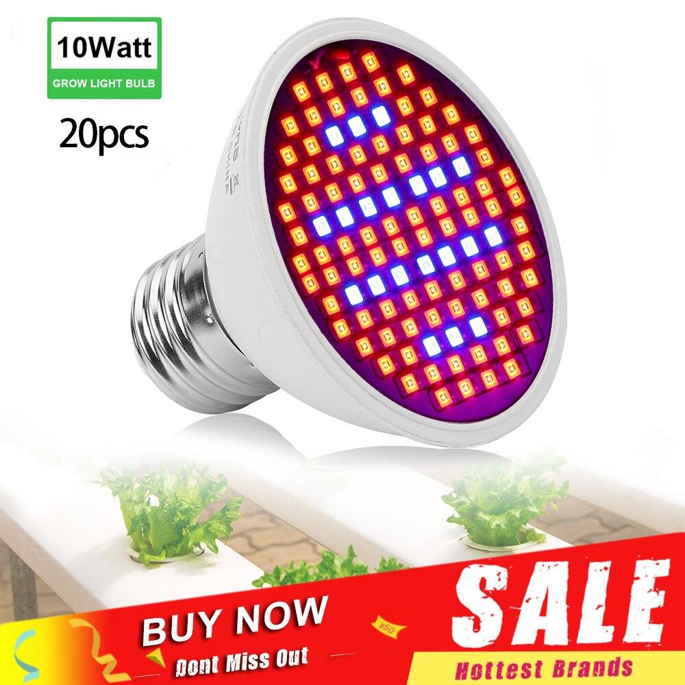 20pcs/lot 106 LEDs Grow Lights 10W E27 Red Blue Full Spectrum Indoor Plant Lamp Hydroponics Growing Lamp AC85-265V Wholesale