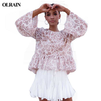 Olrain New Prints Simple Color Lace Word Round Collar Tassel Long Band Speaker Stitching Lotus Leaf