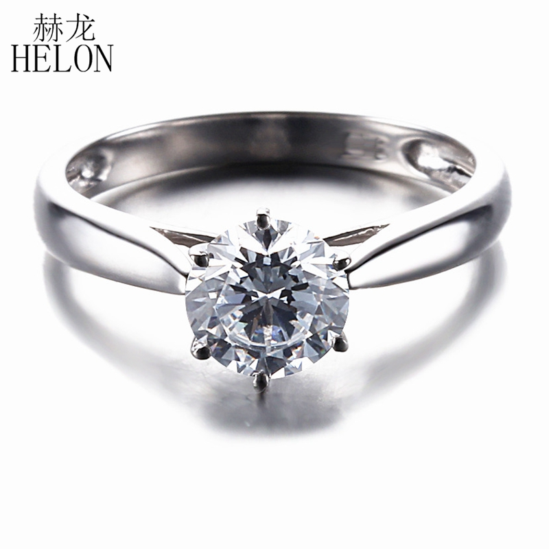 HELON 1CT Moissanite Ring Solid 14K White Gold Round 6.5mm Test Positive Lab Grown Moissanite Engagement Ring Women Jewelry transgems 1 6 ctw carat lab grown moissanite diamond eternity band solid 14k yellow and white gold engagement anniversary ring