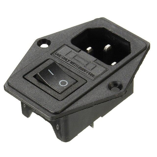 10A AC250V 3 en 1 d'alimentation fusible Socket Plug Adapter avec interrupteur d'alimentation pour Makerbot pour Ultimaker 3D imprimante pièces