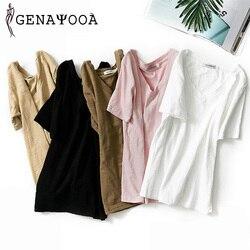 T shirt Women Cotton Basic V Neck Black T Shirt Women Short Sleeve Summer Tshirt Women New Arrivals Women Tops 2019 Harajuku 1