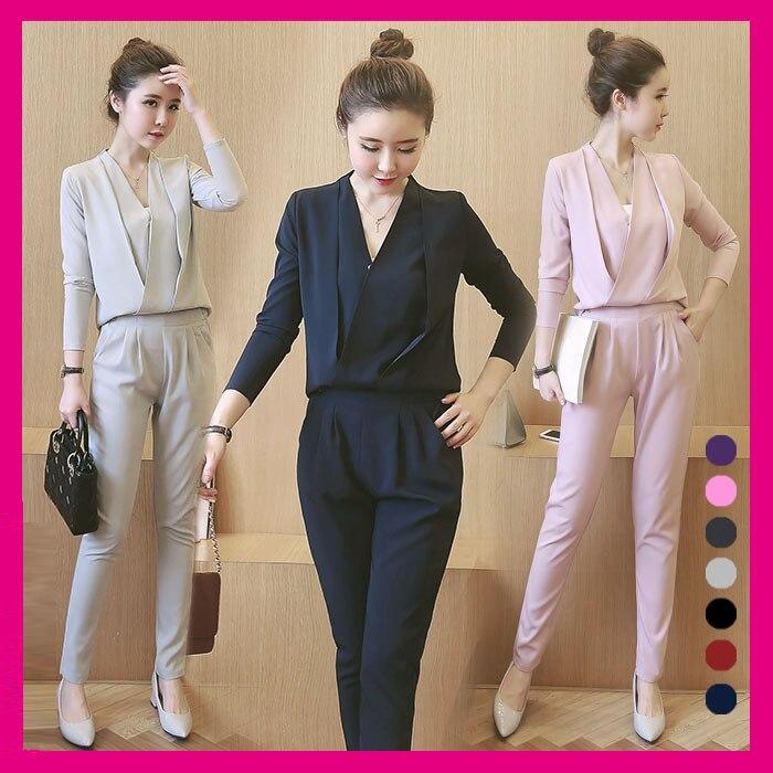 fe3d1e13e824 Moda Donna V Neck Shirt Vestito di Pantaloni Nuovo 2017 Autunno Coreano  Moda Abbigliamento Donna Per Il Tempo Libero A due Pezzi Vestito Sociale  set in Moda ...