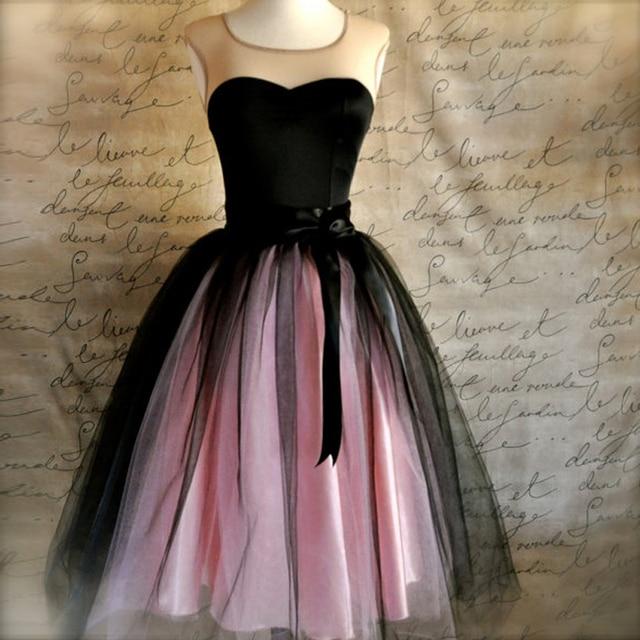 b9d4d29444f Women s Tulle Skirt in Black and Pink Adult Tutu Midi Skirt with Sashes  High Waist Ballerina Skirt Custom Made Plus Size