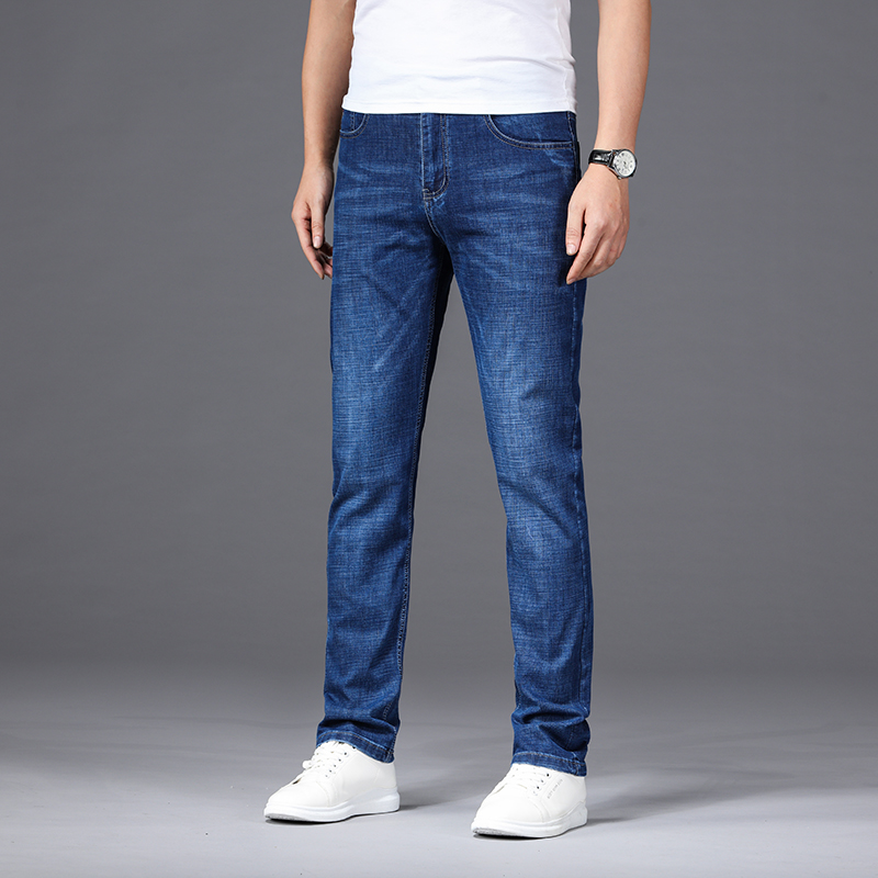 Jantour Brand Summer New Men's Jeans Casual Business Jeans Regular Straight Fit Stretch Jean Elasticity Denim Trousers Male29-40
