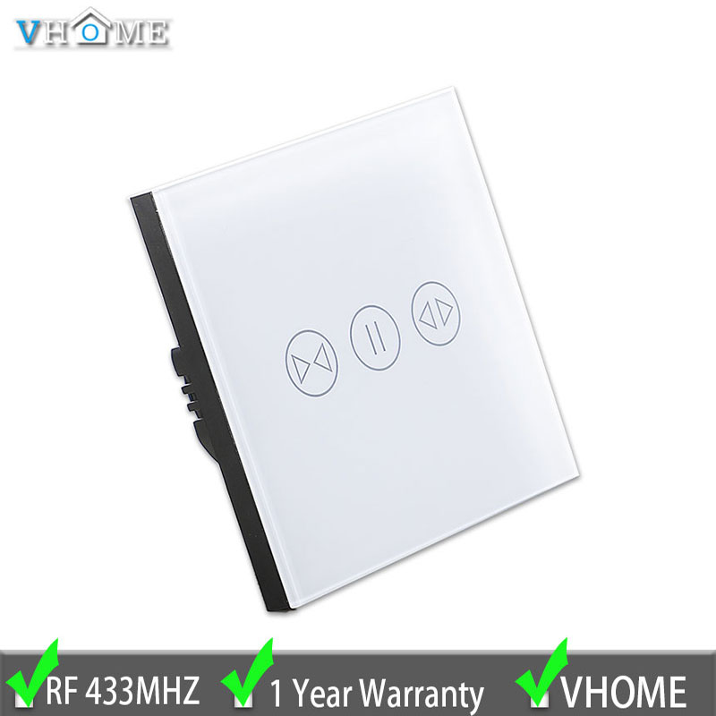 EU standard Smart home curtain switch wireless RF433Mhz wall remote control glass panel touch switch electric curtain 110-240V vhome eu uk smart home touch the switch wall stickers remote control transmitter rf433mhz wall light glass panel