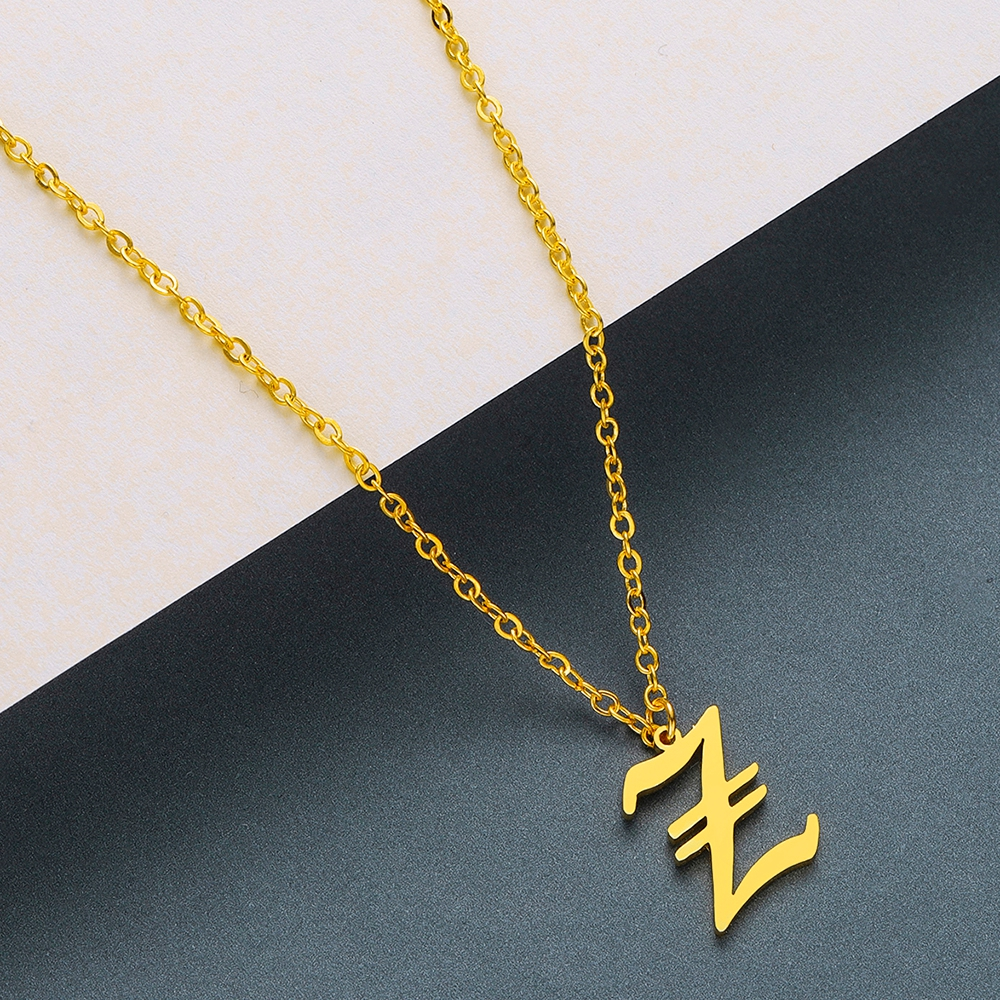 Todorova Old English Custom Capital Initial A-Z Letter Pendant Necklace Men Vintage Font Personalized Necklace Women Jewelry 78