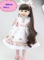 NPK Beste Spelen Poupee Speelgoed Amerikaanse Meisje Pop In Mooie rok Ongeveer 18 inch Handgemaakte Volledige Siliconen Reborn Poppen Speelgoed Voor meisjes