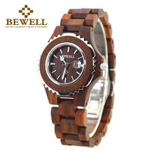 BEWELL Fashion Metal and Wood Ladies Quartz Watch  Red sandalwood 30m Waterproof easy to carry women watches 100BL