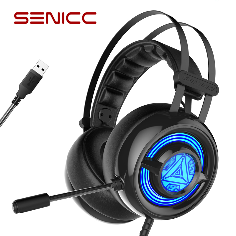 Original Senicc W263 Usb Gaming Headset With Mic Led Gamer Headphones With Sound Card For Lol Pc Video Games