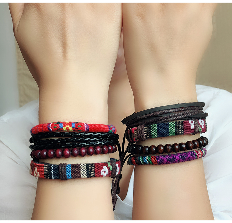 4 Piece Wood Beads Leather Bracelet for Women