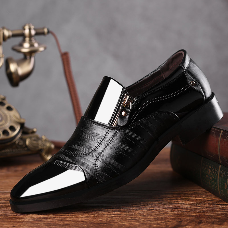 REETENE Fashion Business Dress Men Shoes 2019 New Classic Skórzane męskie Garnitury Buty Fashion Slip On Dress Shoes Men Oxfords
