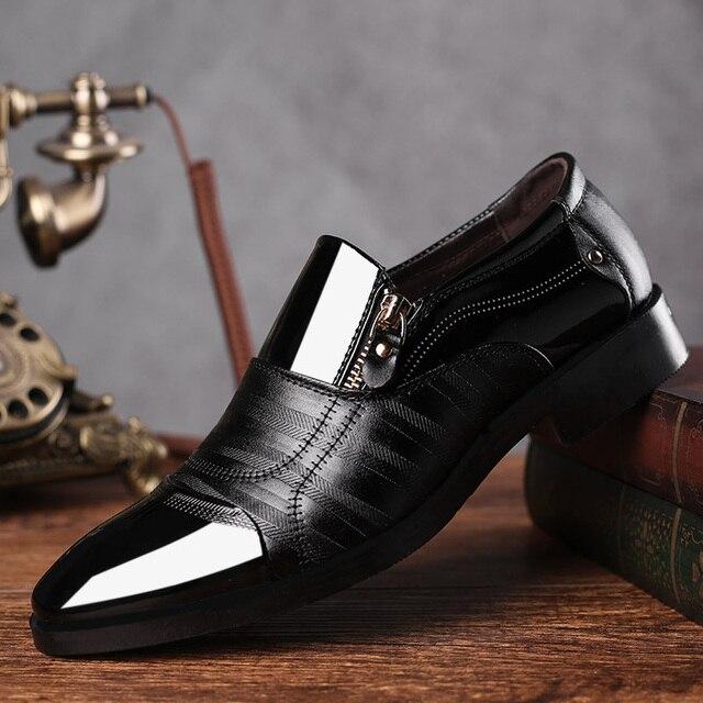 790753cd40b REETENE Fashion Business Dress Men Shoes 2019 New Classic Leather Men S  Suits Shoes Fashion Slip On