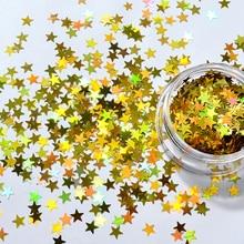 6pcs Laser Sparkle Gold Star Nail Sequins Glitters DIY Paillette Manicure Beauty Art Decorations