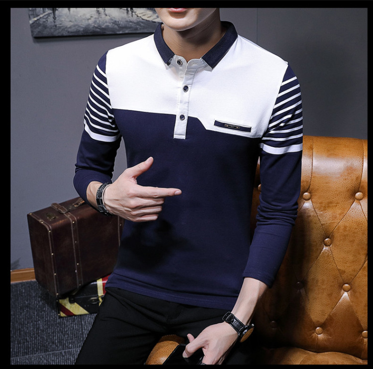 Business Casual Long Sleeve Men Polo Shirt Striped Autumn Winter Polos Cotton Slim Fit Camisa Polo Masculina 72