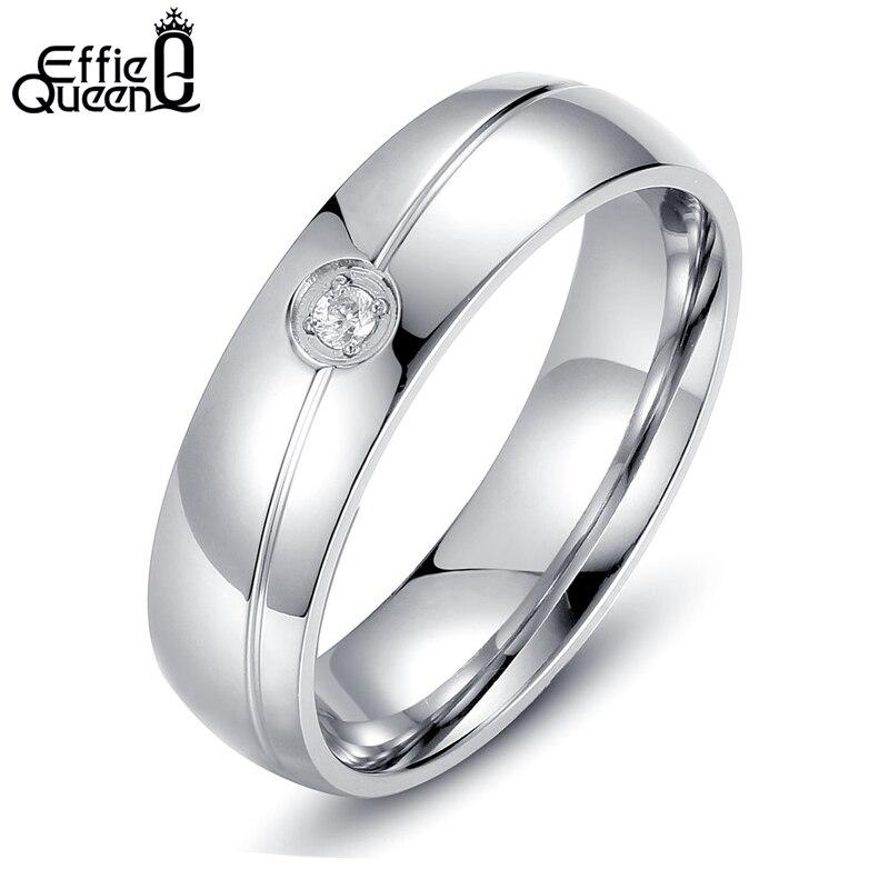 Effie Queen High Quality Titanium Steel Ring Gypsy Setting Zircon Men Women Wedding Engagement Ring Stainless Steel WTR32