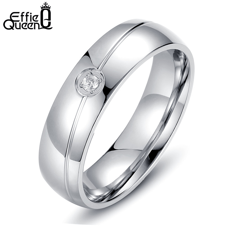 Effie Queen High Quality Titanium Steel Ring Gypsy Setting Zircon Men Women Wedding Engagement Ring Stainless Steel WTR32
