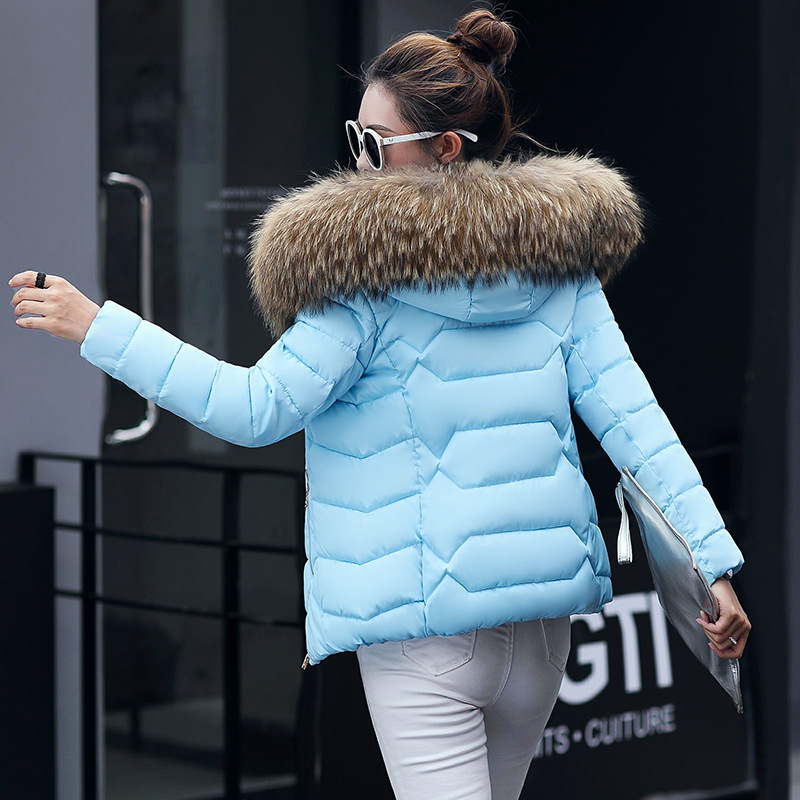 Winter Short Women Jackets Coat Cotton Warm Fur Hooded Basic Jacket Outwear Female Zip Casual Fashion   Parka   Women Coat MWT4583