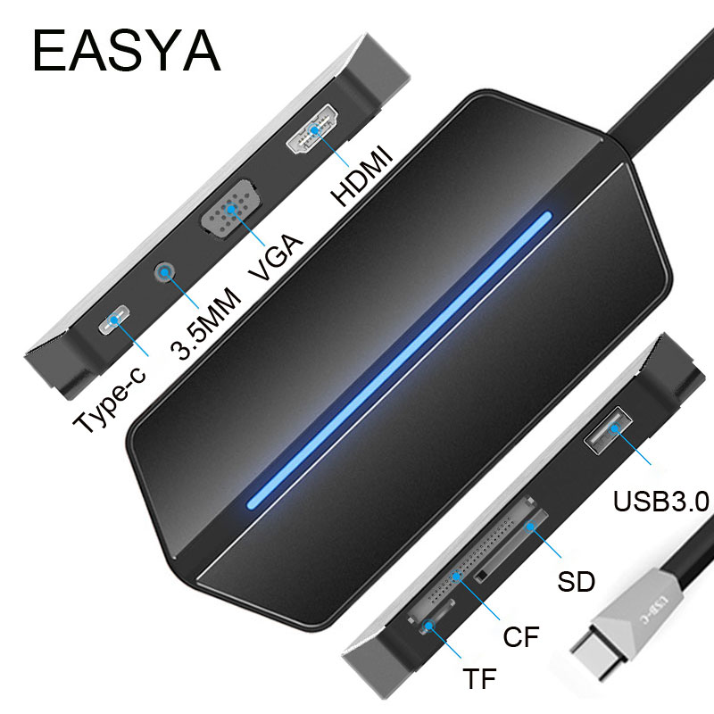 EASYA USB C Hub to HDMI VGA Adapter USB 3.0 Hub USB with Type-C PD Charging Port Card Reader Slot 3.5MM Socket for MacBook Pro usb type c to hdmi uhd 4k adapter high speed usb3 0 hub converter with pd charging ports for macbook projector hdtv