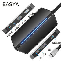 EASYA USB C Hub to HDMI VGA Adapter USB 3.0 Hub USB with Type-C PD Charging Port Card Reader Slot 3.5MM Socket for MacBook Pro