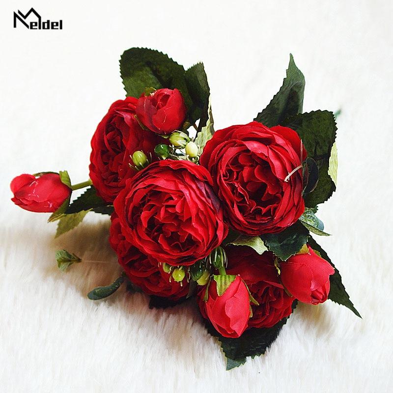 silk flowers artificial peonies bouquet rose wedding home decoration (7)