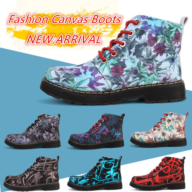 Design Floral 2016 Women Canvas Lace Up Winter and Autumn Ankle Boots Fashion Martin Snow Shoes Motorcycle Boots Botas Masculina ms autumn and winter snow boots warm comfortable wholesale women ladies casual shoes lace up martin boots popular dt548