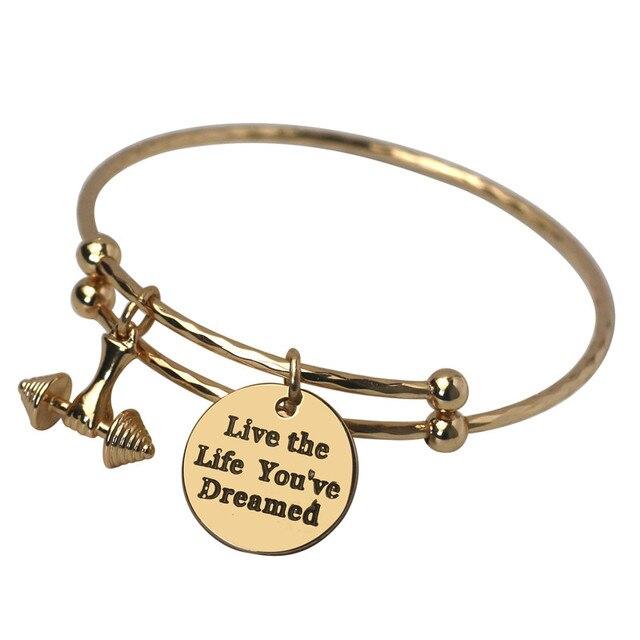 Letter Dumbbell Charm Bangle Bracelets Gold Hand Stamped Initial Gym