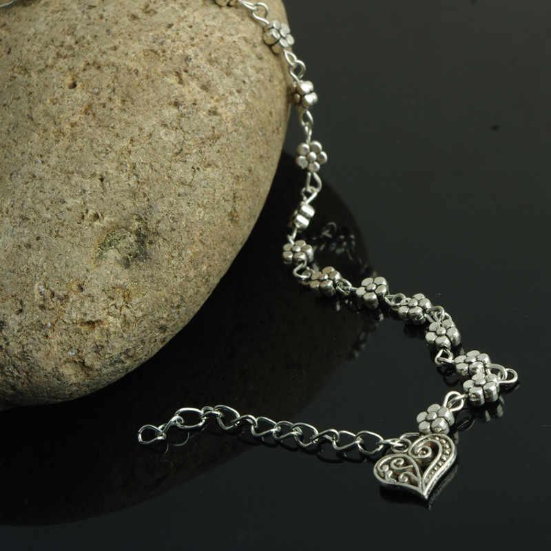 Hurtownia stóp Jewelryl Vintage srebrne serce wisiorek obrączki dla kobiet prosty kwiat na łańcuszku bransoletka na kostkę na nogawce