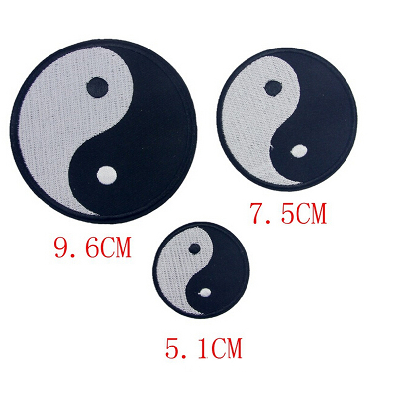 1 pcs classic feng shui yin yang iron on embroidered patch tai chinese taoism symbol applique. Black Bedroom Furniture Sets. Home Design Ideas