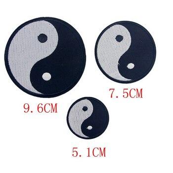1 sztuk klasyczne Feng Shui Yin Yang żelazko na haftowane patcha Tai chiński taoizm Symbol aplikacja Ying Yang łatka ubrania aplikacja