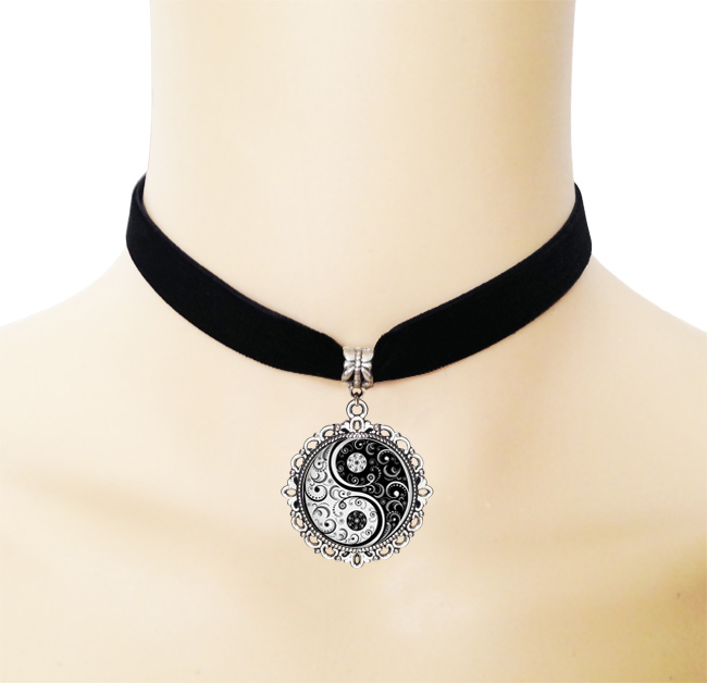 Buy Vintage jewelry victorian black and white yin yang pendant necklace black ribbon necklace glass art pendant choker necklace for $2.54 in AliExpress store