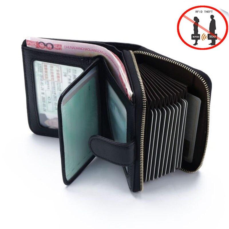 comment trouver site officiel disponible Premium bonne peau de vache bloquant RFID portefeuille hommes porte-carte  de crédit en cuir véritable ID porte-carte d'affaires bloquant la carte NFC