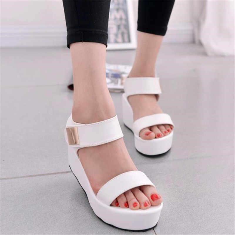 Sandales plateforme femme poisson bouche plateforme talons hauts sandales à talons compensés fond épais noir pente sandales eté femme chaussures