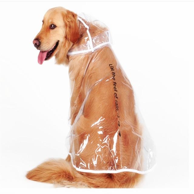 b6e4dfa6f4 Vestiti del Cane impermeabile Impermeabile Trasparente Cappotto di Pioggia  Pet Vestiti Grosso Cane Impermeabile Abbigliamento per