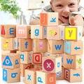 Envío gratis Para Niños de educación temprana de madera juguetes ABC bloques de combinación, 4*4 cm grandes bloques, 26 UNIDS bloques del alfabeto