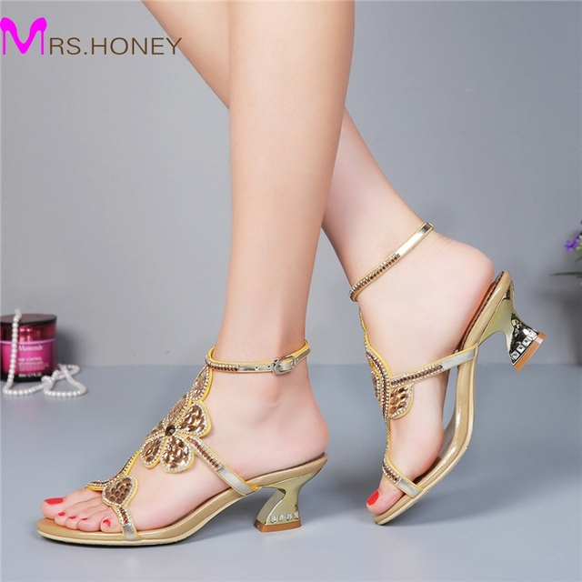 Kitten Heel Gold Rhinestone Wedding Sandals Slingback Comfortable ...