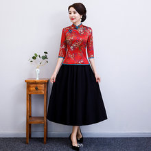 Red Vintage Chinese Shirt Skirt Sets Women Polyester Three Quarter Sleeve Blouse Mandarin Collar Clothing Summer S-4XL(China)