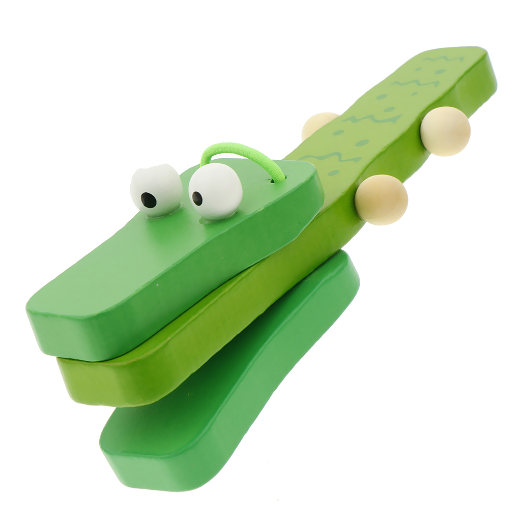 Green Handle Castanets Clapper Crocodile Wooden Musical Percussion Instruments