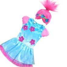 New Trolls Ropa Trajes De Carnaval ropa de Fiesta Vestido de Los Cabritos Para Las Muchachas Trolls Amapola Bebé Vestido + Accesorios Para el Cabello(China (Mainland))