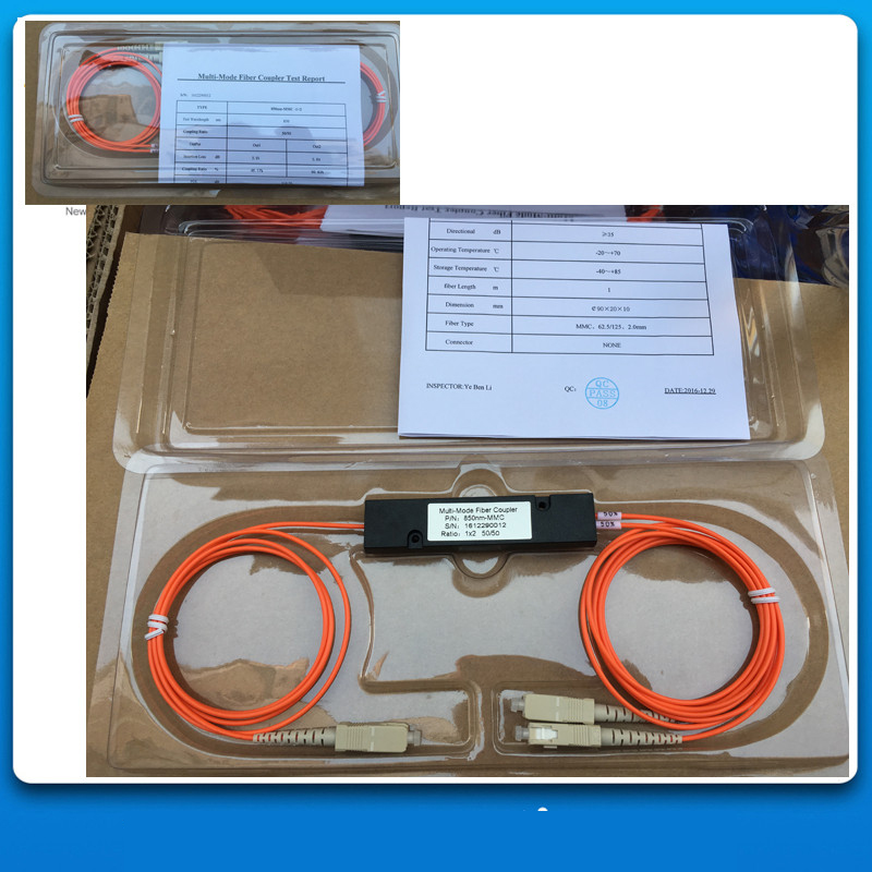 1X2,MM(850nm),62.5/125,50/50,SC/UPC,Cable Dia:2.0mm,L:1M,ABS Pacakge:90*20*10mm,1*2 FBT Multimode Fiber Optic Coupler