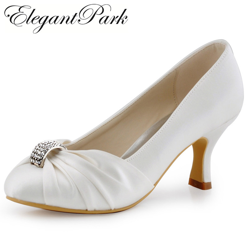 White Ivory Shoes Woman Shoes Mid Heel Rhinestone Pumps Satin Lady Evening prom pumps women Wedding Bridal Shoes HC1526 Ivory ab crystal diamond exquisite wedding shoes sparkling rhinestone handcraft bridal shoes thin heel evening prom party women pumps