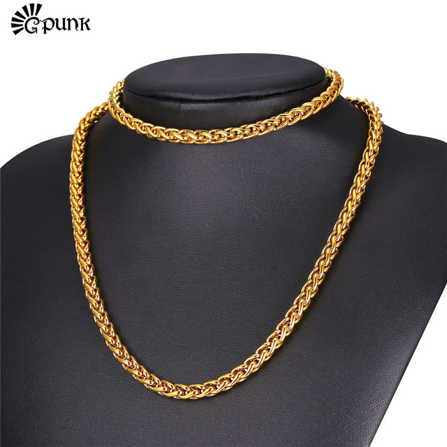 e808c7a79 6mm Necklace Bracelet Set For Men Wheat Chain yellow Gold Filled Stainless  Steel Chain 2016 Men Jewelry Wholesale S2166G