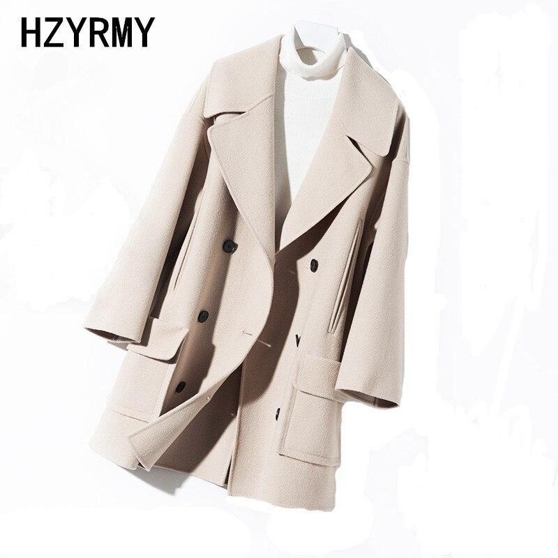 HZYRMY осень зима Новый Для женщин Кашемир шерстяные пальто Мода v образным вырезом дикий шерстяной ткани куртка Теплый Женский двусторонний п