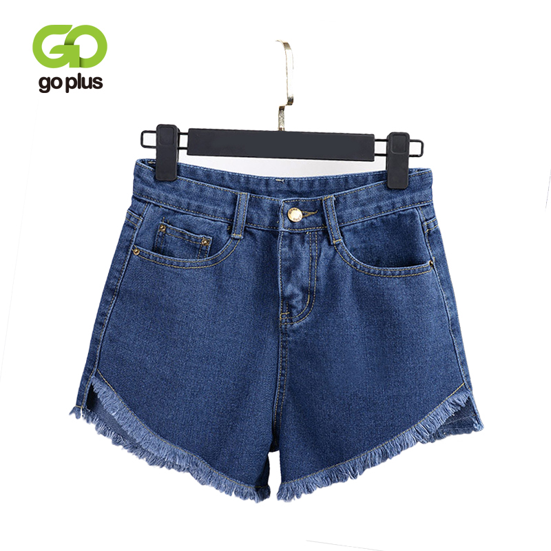 GOPLUS Denim   Shorts   Women Vintage Casual High Waist Tassel Jeans   Shorts   Women Summer Loose Leg Blue Black Mini   Short   Pants C7982