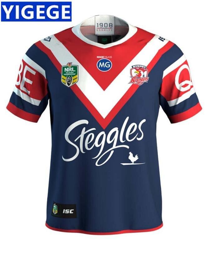 3b15566c9902 YIGEGE 2019 NRL Регби Сидней петухи 2018 мужская домашняя Джерси Австралия  NRL Национальный регби Лига рубашка nrl Джерси Размеры S-3XL